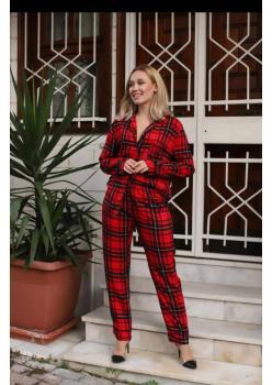 Kırmızı Siyah Kareli Uzun Kollu Pijama Takımı