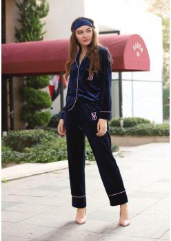 Victoria's Secret Model Kadife Lacivert Uzun Kollu Pijama Takımı