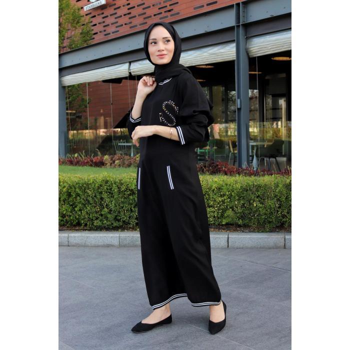 Siyah Bayan Taş Detaylı Elbise