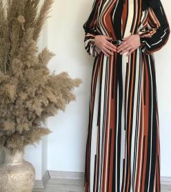 Boydan Çizgili Krep Elbise
