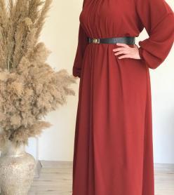 Kiremit Rengi Krep Elbise