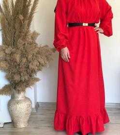 Kırmızı Krep Elbise