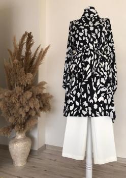 Siyah Beyaz Desenli İpek Tunik T001