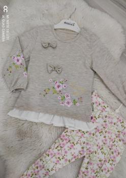 Kız Bebek Çiçek Desenli Takım