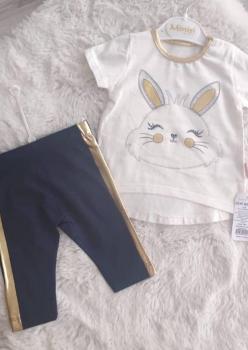 Tavşan Baskılı Kız Bebek 2 li Takım