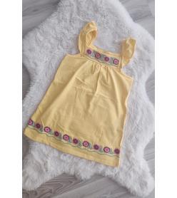 Sarı Çiçek İşlemeli Elbise