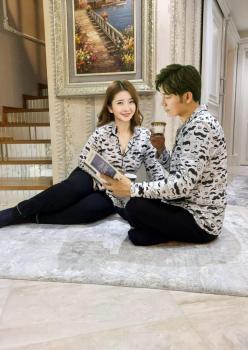 Siyah Beyaz Bıyık Desenli Bay Pijaması