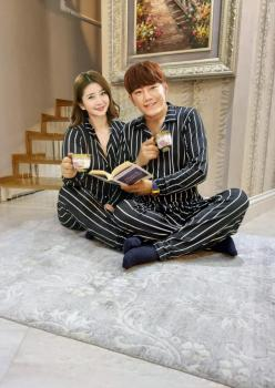 Siyah Beyaz Çizgili Bayan Pijaması