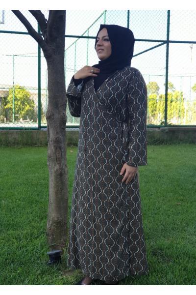 Namaz Elbisesi Yeşil Zincir Desen satın al