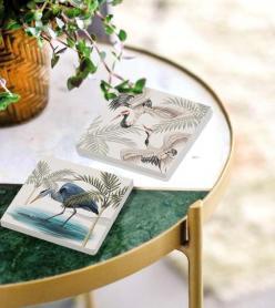 The Mia Taş Bardak Altlığı - 2li Set - Bird