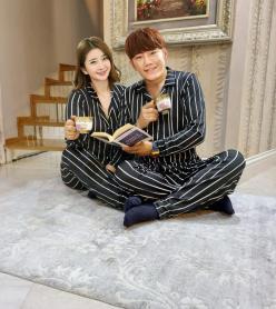 Siyah Beyaz Çizgili Çift Pijaması