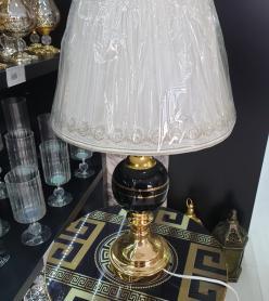 Kumaş Şapkalı Gold Siyah Gövdeli Dekoratif Abajur