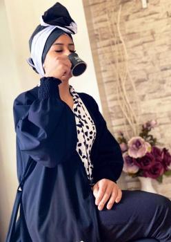 Ekru Siyah Pamuklu Bayan Pijama Takımı