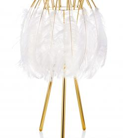 Kuş Tüyü Abajur Beyaz 60 x 35 Cm