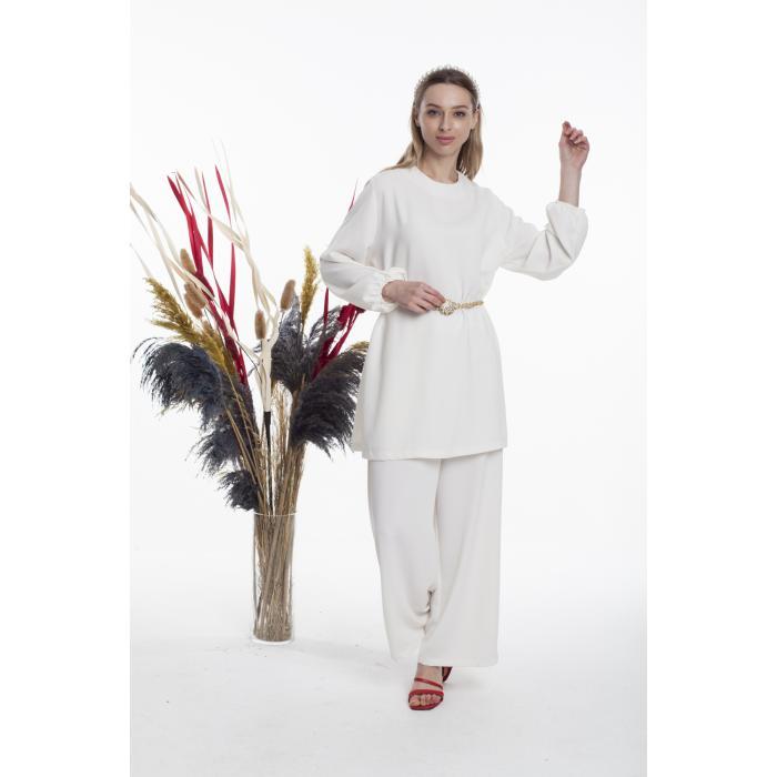 Bluz Takım İnci Beyaz tunık pantolon tesettür