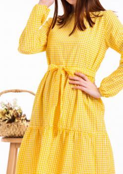 Sarı  pötikare kat kat elbise