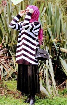 Çizgili Siyah Beyaz Bayan Tunik Kazak