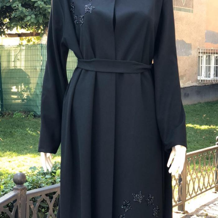 Bayan Taşlı Siyah Abaya