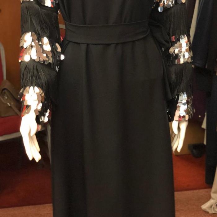 Püsküllü Payetli Elbise Siyah