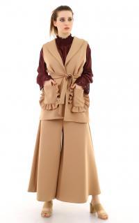 Fırfır Detaylı Camel Bayan Yelek Takım