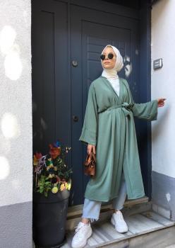 Aerobin Kumaş Açık Yeşil Kimono