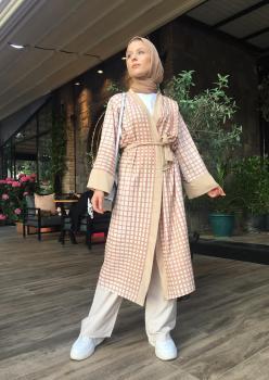 Aerobin Kumaş Bej Kareli Kimono