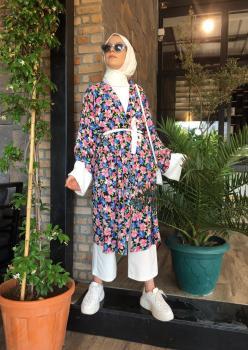 Aerobin Kumaş Çiçekli Kimono