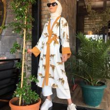 Aerobin Kumaş Kimono Aslan Desen