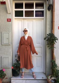 Aerobin Kumaş Kiremit Renk Kimono