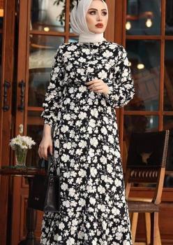 Papatya Desenli Siyah Elbise