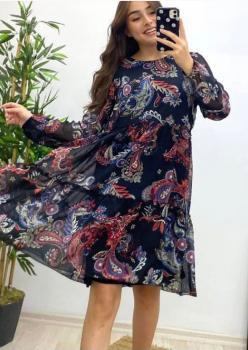Uzun Kol Kat Kat Fırfırlı Şifon Kumaş Elbise