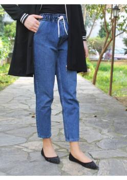 Cember Mavi Mom Jeans Pantolon 102401