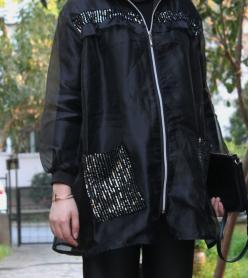 Cember Siyah Organze Fırfırlı Ceket 20002