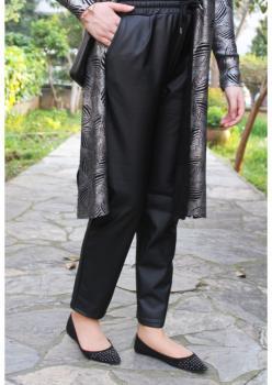 Cember Siyah Deri Pantolon 50301
