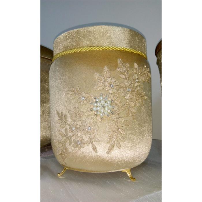 Çok Amaçlı Kadife Gold İncili Kutu
