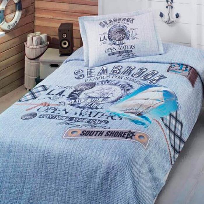 Tek Kişilik Mavi Yatak Örtüsü