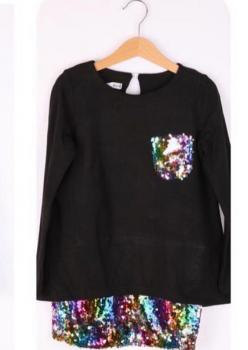 Siyah Kız Çocuk Elbise Renkli Payet Detaylı