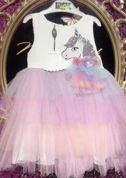 Poni Tütülü Kız Çocuk Elbise 001