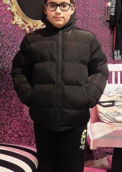 Erkek Çocuk Kaz Tüyü Siyah Şişme Mont