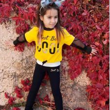 Kız Çocuk Sarı-Siyah Eşofman Takım