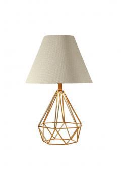 Serenity krem baslık piramit gold renk metal kafes ayaklı abajur