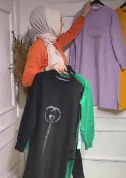 Siyah Pırıltı Detaylı Renkli Sweat 004