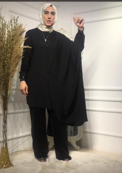 Siyah Payetli Pantolon Tunik Takım