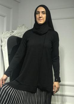 Merserize Triko Bayan Siyah Bluz