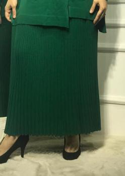Merserize Triko Bayan Yeşil Etek