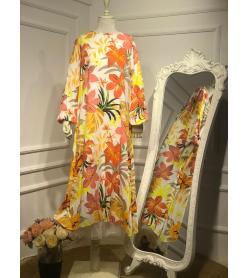 Pamuklu Çiçekli Elbise