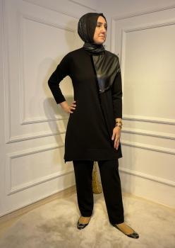 Deri Detaylı Siyah Bayan Takım