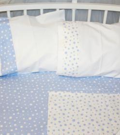 Bebek Nevresim Takımı Mavi Puantiyeli