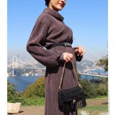 Tasarım Pliseli Triko Elbise