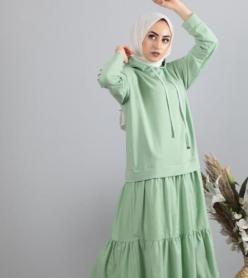 Penye Poplin Kapşonlu Elbise Yeşil